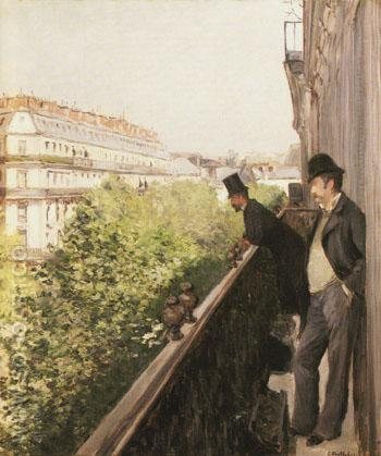A Balcony 1800 - Gustave Caillebotte reproduction oil painting