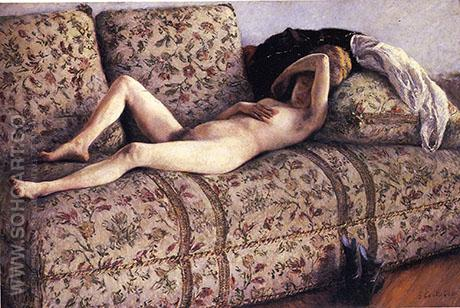 Nude on a Couch c1880 - Gustave Caillebotte reproduction oil painting