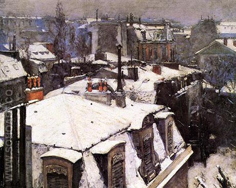 Rooftops Under Snow 1878 - Gustave Caillebotte reproduction oil painting