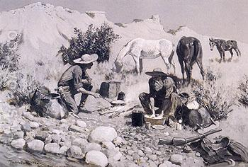 Prospectors Making Frying Pan Bread 1893 - Frederic Remington reproduction oil painting