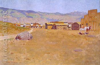 A Mining Town Wyoming 1899 - Frederic Remington reproduction oil painting