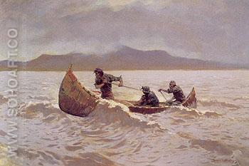 The Howl of the Weather 1905 - Frederic Remington reproduction oil painting