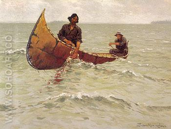 Hauling the Gill Net 1905 - Frederic Remington reproduction oil painting