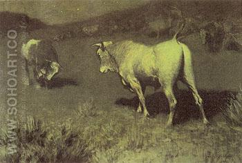 The Moaning of the Bulls 1907 - Frederic Remington reproduction oil painting