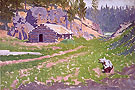 Squatter Cabin 1908 - Frederic Remington reproduction oil painting