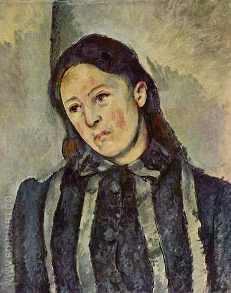 Portrait of Madame Cezanne 1883 - Paul Cezanne reproduction oil painting