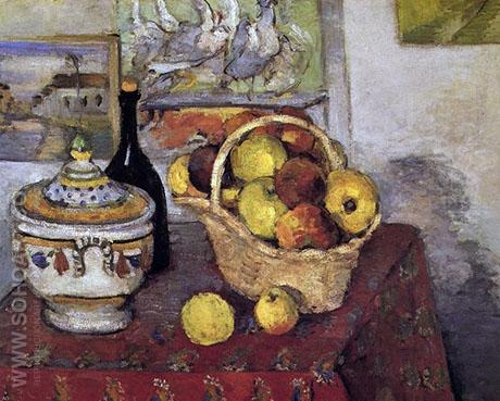 Still Life with a Soup Tureen c 1877 - Paul Cezanne reproduction oil painting