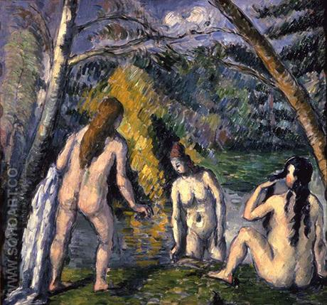 Three Bathers 1875 - Paul Cezanne reproduction oil painting