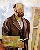 Self Portrait with Palette 1890 - Paul Cezanne reproduction oil painting