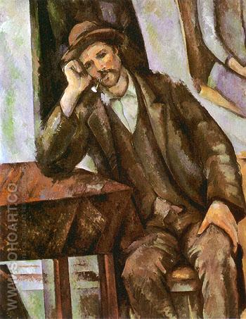 Man Smoking a Pipe - Paul Cezanne reproduction oil painting