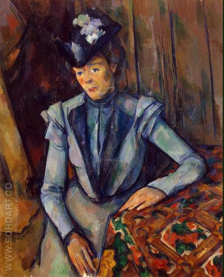 Woman in Blue - Paul Cezanne reproduction oil painting