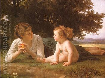 Temptation 1880 - William-Adolphe Bouguereau reproduction oil painting