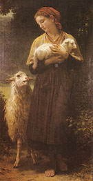 The Shepherdess 1873 - William-Adolphe Bouguereau reproduction oil painting