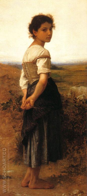The Young Shepherdess 1885 - William-Adolphe Bouguereau reproduction oil painting