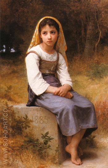 Meditation 1885 - William-Adolphe Bouguereau reproduction oil painting