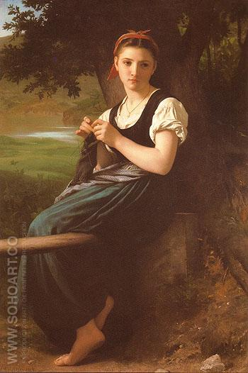 La tricoteuse The Knitting Girl 1869 - William-Adolphe Bouguereau reproduction oil painting