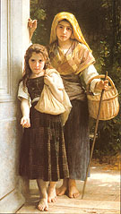 Les Petites Mendicantes The Little Beggar Girls 1890 - William-Adolphe Bouguereau reproduction oil painting