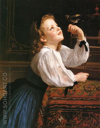 The Pet Bird 1867 - William-Adolphe Bouguereau reproduction oil painting