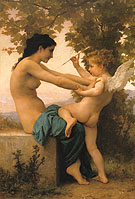 Young Girl Defending Herself aganst Eros 1880 - William-Adolphe Bouguereau reproduction oil painting