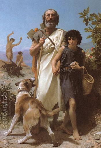 Homer and His Guide 1874 - William-Adolphe Bouguereau reproduction oil painting