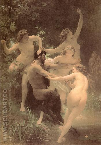 Nymphs and Satyr 1873 - William-Adolphe Bouguereau reproduction oil painting