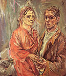 Double Portrait Kokoschka and Alma Mahler 1912 - Oskar Kokoshka reproduction oil painting