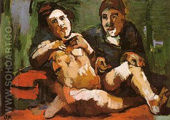 Self Portrait with Doll 1922 - Oskar Kokoshka reproduction oil painting