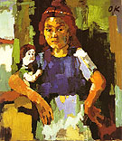 Young Girl with Doll 1921 22 - Oskar Kokoshka reproduction oil painting