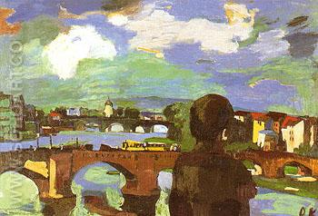 Dresde Bridges of the elbe with Figure seen from the Back 1923 - Oskar Kokoshka reproduction oil painting