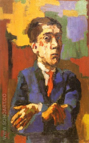 Self Portrait with Arms Crossed 1923 - Oskar Kokoshka reproduction oil painting
