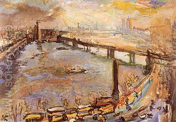 London Panorama of the Thames I 1926 - Oskar Kokoshka reproduction oil painting