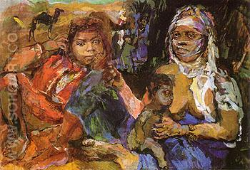 Arab Woman and Children 1929 - Oskar Kokoshka reproduction oil painting