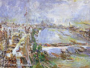 London View of the Thames from Shell Max House 1959 - Oskar Kokoshka reproduction oil painting