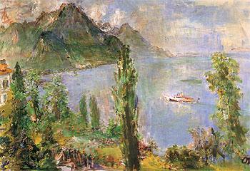 Lake Leman with Steamboat 1957 - Oskar Kokoshka reproduction oil painting
