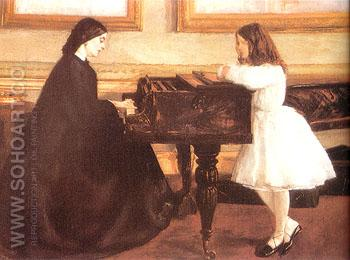 At the Piano 1858 - James McNeill Whistler reproduction oil painting