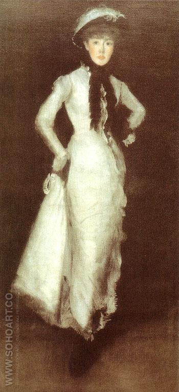 Arrangement in White and Black Portrait of Maud Franklin 1876 - James McNeill Whistler reproduction oil painting