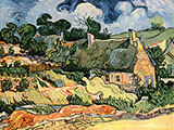 Houses with Thatched Roofs Cordeville 1890 - Vincent van Gogh reproduction oil painting
