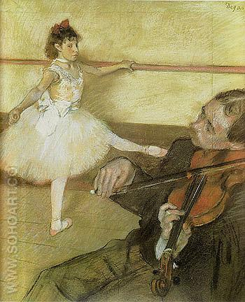 The Dance Lesson circa 1879 - Edgar Degas reproduction oil painting