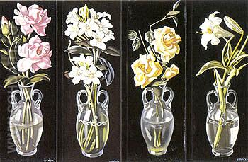 Cut Flowers in Vases 1938 - Tamara de Lempicka reproduction oil painting