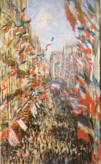 Rue Montorgueil Paris Festival of June 30th 1878 - Claude Monet reproduction oil painting