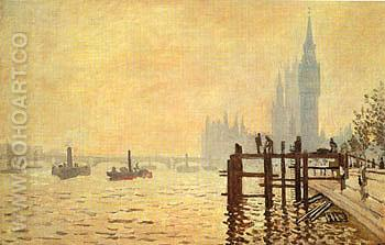 The Thames at Westminster 1871 - Claude Monet reproduction oil painting