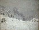 Near Honfleur Snow - Claude Monet reproduction oil painting