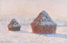 Wheatstacks Snow Effect Morning 1891 - Claude Monet reproduction oil painting