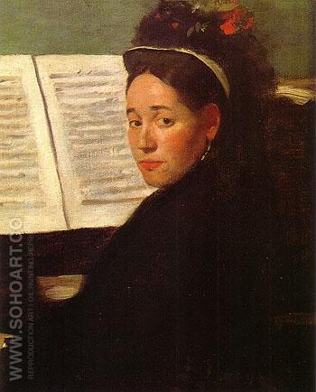 Marie Dihau at the Piano 1869 - Edgar Degas reproduction oil painting