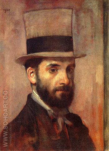 Portrait of Leon Bonnat - Edgar Degas reproduction oil painting