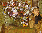 Woman With a Vase of Flowers 1865 - Edgar Degas reproduction oil painting