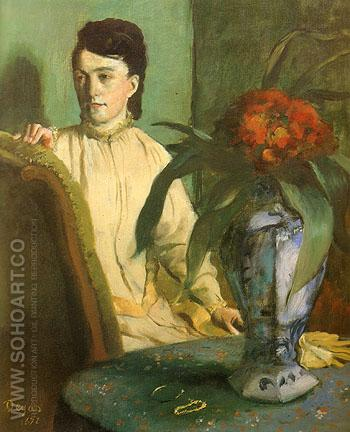 Woman With Chinese Vase 1872 - Edgar Degas reproduction oil painting