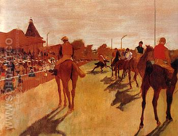 Racehorses Before The Stands 1866 - Edgar Degas reproduction oil painting