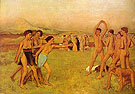 Spartan Girls Provoking Young Man 1880 - Edgar Degas reproduction oil painting