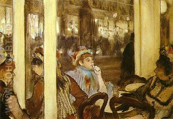 Woman on the Terrace of a Cafe in the Evening 1877 - Edgar Degas reproduction oil painting